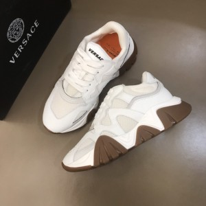 Versace High Quality Sneakers White and brown soles MS021345 Updated in 2019.11.28