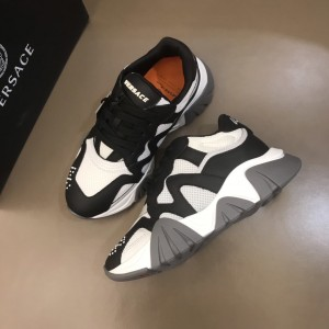 Versace High Quality Sneakers Black and white details with brown sole MS021346 Updated in 2019.11.28