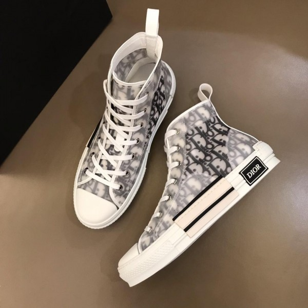 Dior High-top Perfect Quality Sneakers White and Dior Oblique tech fabric with white sole MS02623