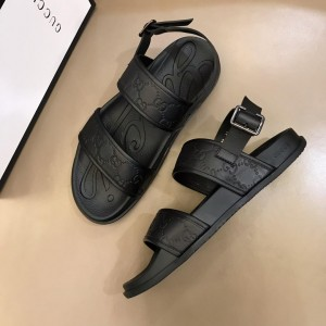 Gucci Black Sandals With Embossing GG Design MS02662