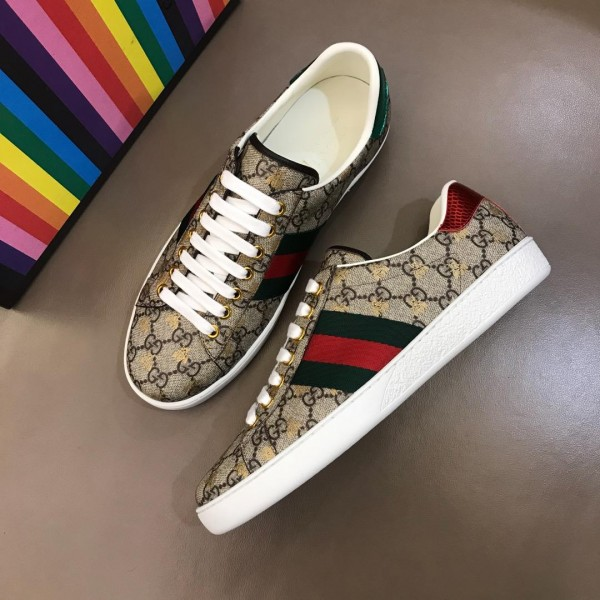 Gucci Perfect Quality Sneakers Beige GG with gold bee pattern and Green and Red Web with White rubber sole MS02670