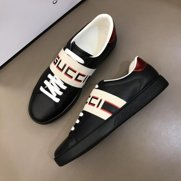 Gucci Perfect Quality Sneakers Black and Gucci jacquard stripe stretch with Black rubber sole MS02687