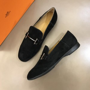 Hermes Suede Leather Loafers With Silver Buckle MS02725