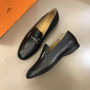 Hermes Bright Leather Loafers With Silver Buckle MS02726