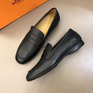 Hermes Black Leather Loafers MS02727