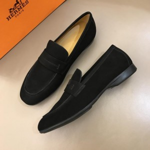 Hermes Black Suede Leather Loafers With Silver Buckle MS02728