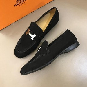 Hermes Black Bright Loafers With Silver Buckle MS02729
