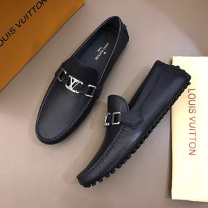 Louis Vuitton Arizona Moccasin Black Loafers With Silver Buckle MS02787