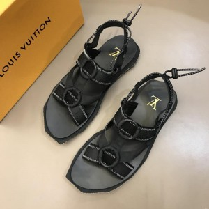 Louis Vuitton Black Sandal With yellow canvas MS02809