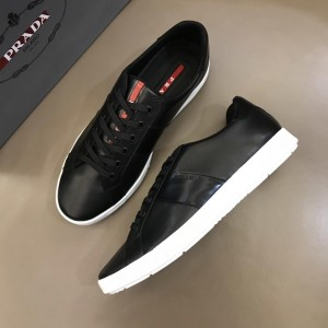 Prada Fashion Sneakers Black and Black leather details with white sole MS02959