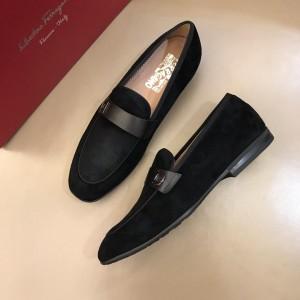 Salvatore Ferragamo Black Suede leather Fashion Perfect Quality Loafers MS02974