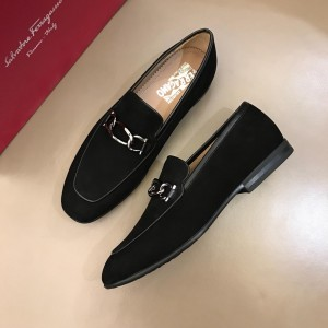 Salvatore Ferragamo Black Suede leather Fashion Perfect Quality Loafers With Sliver Buckle MS02982