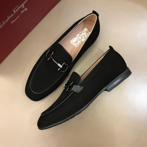 Salvatore Ferragamo Black Suede leather Fashion Perfect Quality Loafers With Sliver Buckle MS02984