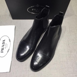 Prada Chelsea Caligoula black bright leather Boots MS071181