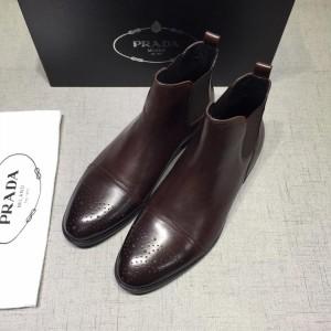 Prada Chelsea Caligoula brown bright leather Boots MS071182