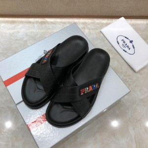 Prada Slippers with colorful letter in crisscross rubber MS071231