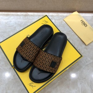 Fendi Slippers with FF design in canvas MS07213