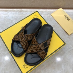 Fendi Slippers with FF design in crisscross canvas MS07213 MS07214