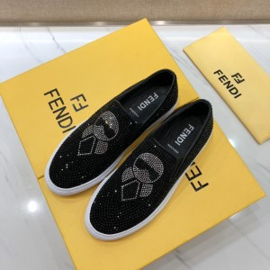 Fendi Fashion Sneakers Black and Two-tone crystal embellishment with White rubber sole MS07216