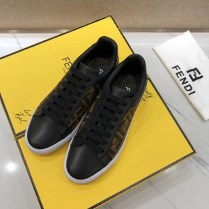 Fendi Fashion Sneakers Black and FF theme print with White rubber sole MS07219