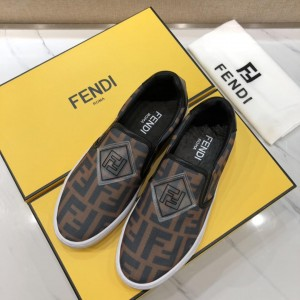 Fendi Fashion Sneakers Brown and FF theme print with White rubber sole MS07221