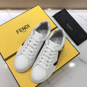 Fendi Fashion Sneakers White and Bag Bugs Eye Graphics with Blue bright leather  stitching MS07225