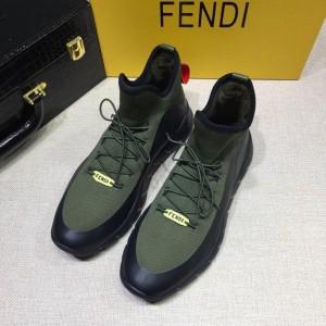 Fendi Fashion Sneakers Green and Black  rubber sole MS07229