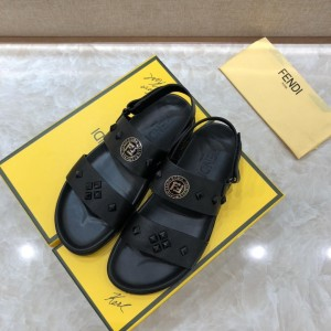 Fendi Black Leather Sandals With FF Design MS07233
