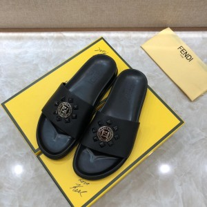 Fendi black Slippers with golden FF design MS07234