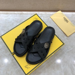Fendi Slippers with golden FF design in rubber MS07236