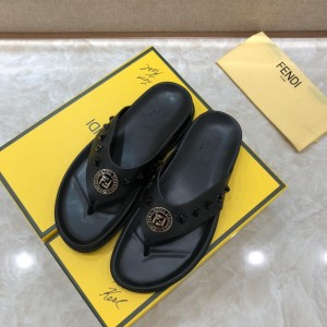 Fendi flip-flop with golden FF design in rubber MS07237