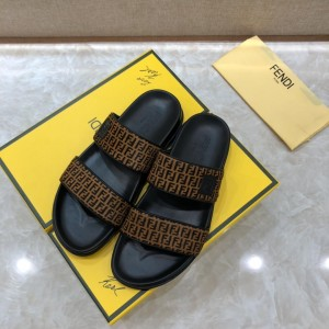 Fendi black Slippers with brown canvas MS07238