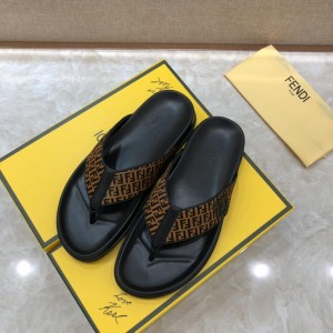 Fendi black flip-flop with brown canvass MS07239