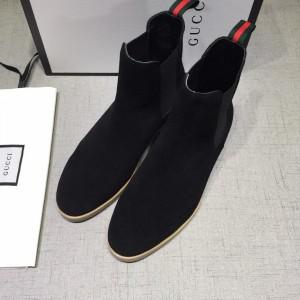 Gucci Chelsea Caligoula black leather Boots GC0807463