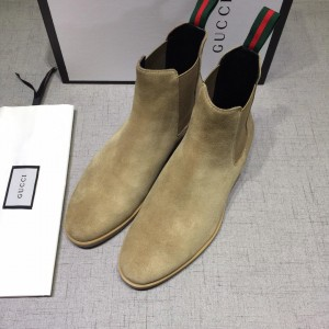 Gucci Chelsea Caligoula brown leather Boots MS07464