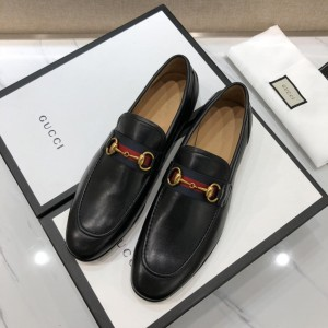 Gucci Black Leather loafer with GG Web MS07534
