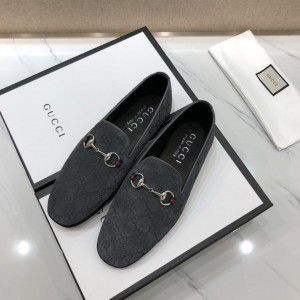 Gucci Gray Perfect Quality Loafers With Silver Buckle MS07556