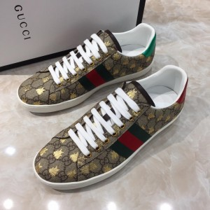 Gucci Fashion Sneakers Ebony GG print and gold sealed embroidery with white sole MS07653