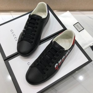 Gucci Fashion Sneakers Black and Gucci vintage print with black sole MS07707