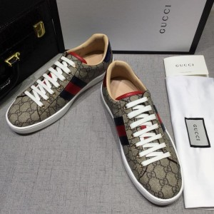 Gucci Fashion Sneakers Grey and GG lettering with white sole MS07755