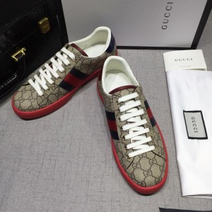 Gucci Fashion Sneakers Beige and GG print with red sole MS07757