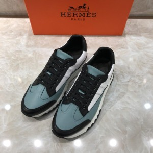 Hermes Fashion Sneakers White and Two-tone sole with  blue tongue MS07782