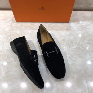 Hermes Black Suede leather Perfect Quality Loafers With Silver Buckle MS07791