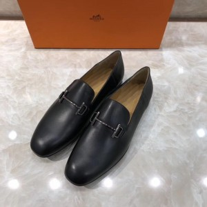 Hermes Black Leather Perfect Quality Loafers With Silver Buckle MS07792