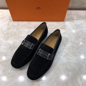 Hermes Black Suede leather Perfect Quality Loafers With Silver Buckle MS07793