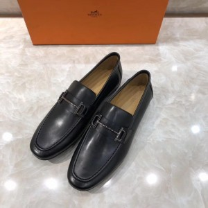 Hermes Black Leather Perfect Quality Loafers With Silver Buckle MS07794