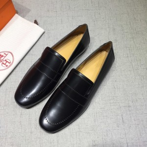 Hermes Black Leather Perfect Quality Loafers MS07799