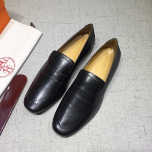 Hermes Black Bringht Leather Perfect Quality Loafers MS07800