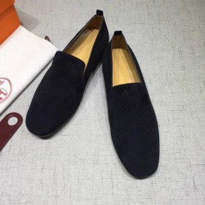 Hermes Black Suede leather Perfect Quality Loafers MS07801