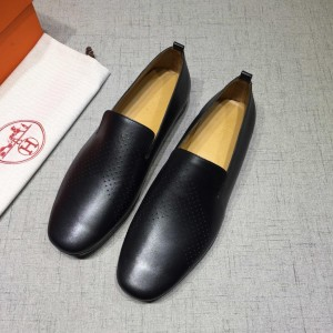 Hermes Black leather Perfect Quality Loafers MS07802